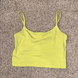 Forever 21 Neon Yellow Cropped Tank Top